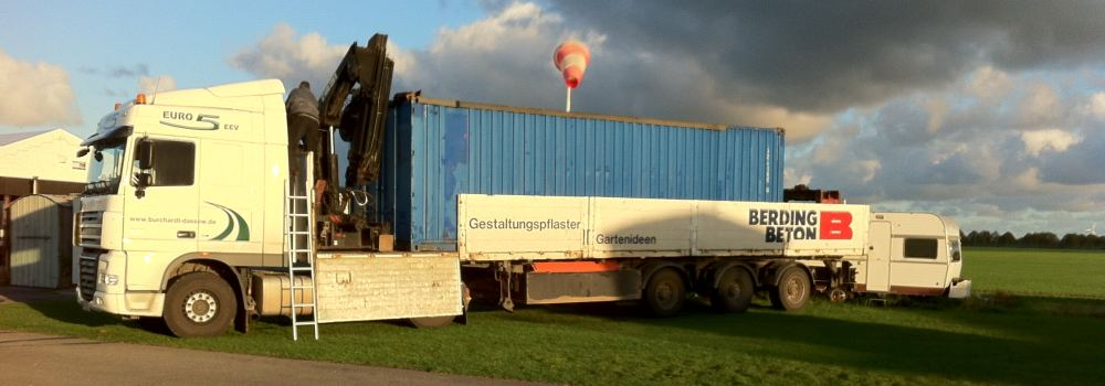 Wohnzimmer und Kamin gartenhäuser container : Die Spedition Burchardt - Containerdienst ...